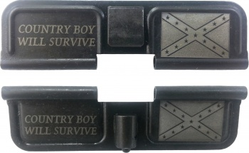 Double Sided Country Boy Will Survive Confederate Flag Laser Engraved Ejection Port Dust Cover