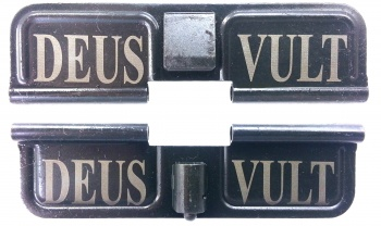 Double Sided Deus Vult AR-15 Laser Engraved Ejection Port Dust Cover