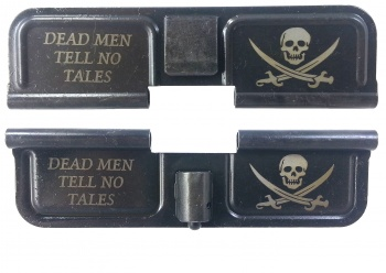 Double Sided Jolly Roger Dead Men Tell No Tells AR-15 Laser Engraved Ejection Port Dust Cover