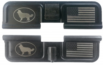 Double Sided Sheep Dog / USA Flag AR-15 Laser Engraved Ejection Port Dust Cover