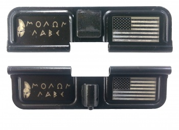 Double Sided Molon Labe Spartan Helmet American Flag Ejection Port Dust Cover