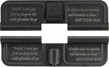 Double Sided Matthew 10:16 AR-15 Laser Engraved Ejection Port Dust Cover