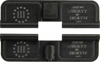 Double Sided Three Percenter Give me Liberty or Death AR-15 Laser Engraved Ejection Port Dust Cover