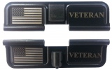 Double Sided USA Flag and Veteran AR-15 Laser Engraved Ejection Port Dust Cover