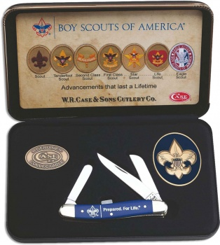 Case Bsa Gift Set - Embellished Smooth Blue Synthetic Medium Stockman (4318 Ss) In Jewel Box knives 18037