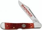 Case U. S. Marine Corps - Peach Seed Jig Dark Red Bone CopperLock (61549L SS) - 13171