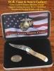 Case U. S. Marine Corps - Standard Jigged Burnt Cream Bone RussLock (61953L SS)Gift Set in Jewel Box - 13182