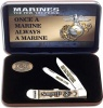 Case U. S. Marine Corps - Embellished Smooth Natural Bone Trapper (6254 SS) Gift Set in Jewel Box - 13183