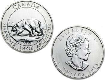 2013 Canadian Silver Polar Bear 1.5 oz Coin .9999 Fine