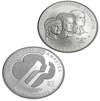 2013 Girl Scouts of USA Centennial Silver 1 oz Coin