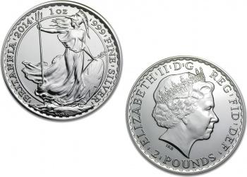 2014 Silver Britannia 1 oz Coin