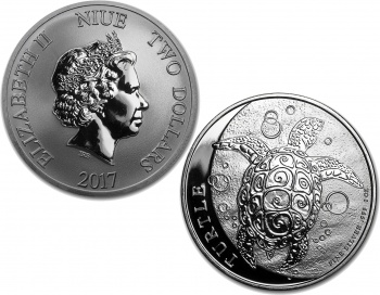 2017 New Zealand Niue Silver Hawksbill Turtle 1oz Coin