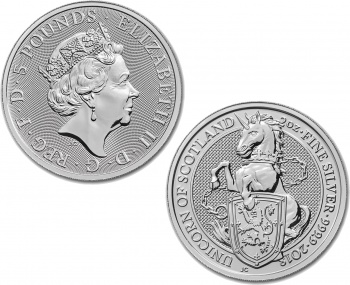 2018 Great Britain Silver Queens Beasts The Unicorn 2oz Coin