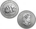 2015 Canadian Silver Polar Bear and Cub 1.5 oz Coin .9999 Fine