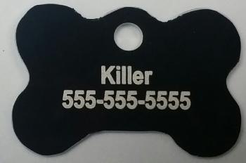 Black Dog Bone Pet I.D. Collar Tag ENGRAVEDPETIDTAG_BONE_BLACK
