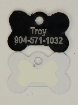 Black Dog Bone Pet I.D. Collar Tag with Glow in the Dark Back ENGRAVEDPETIDTAG_BONE_BLACK_GLOW