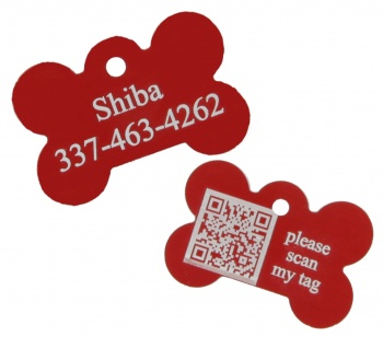 Red Dog Bone Pet I.D. Collar Tag with Geolocation Tracking System ENGRAVEDPETIDTAGREDBONE_TRACKING