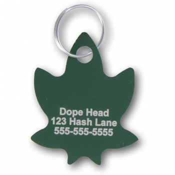 Marijuana Leaf Pet I.D. Collar Tag ENGRAVEDPETIDTAGGREENMARIJUANA