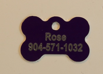 Purple Dog Bone Pet I.D. Collar Tag ENGRAVEDPETIDTAG_BONE_PURPLE