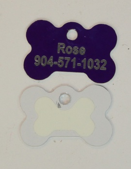 Purple Dog Bone Pet I.D. Collar Tag with Glow in the Dark Back ENGRAVEDPETIDTAG_BONE_PURPLE_GLOW