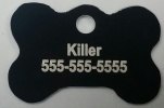 Black Dog Bone Pet I.D. Collar Tag
