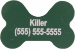 Green Dog Bone Pet I.D. Collar Tag