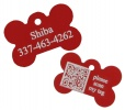Red Dog Bone Pet I.D. Collar Tag with Geolocation Tracking System