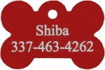 Red Dog Bone Pet I.D. Collar Tag