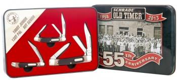 Schrade 55th Anniversary 3 Knife Set w/ Sawcut Delrin Handles SCHPROM-13-2CP