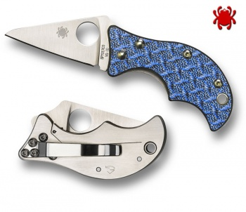 Spyderco Spin Blue Nishijin Plain Edge Only 7 Left SPC86GFBLP