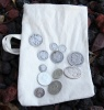 Canvas Bag of Survival Money Featuring Silver Coins from a Bygone Era