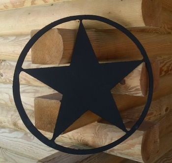 Texas Star Wooden Wall Plaque Pediment - 22 Inch - Black TEXASSTARBLACKCIRCLE22INCH