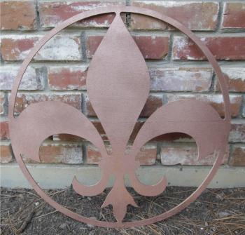 Fleur de Lis Wooden Wall Plaque Pediment - 22 Inch - You Pick Color FLEURDELISCIRCLE22INCH_PICKCOLOR