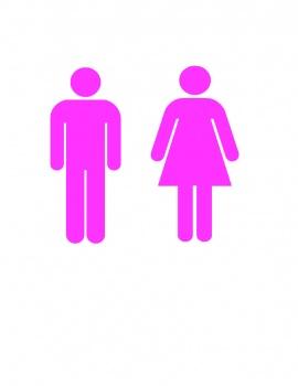 Men Women Restroom Bathroom Vinyl Decal 6x6 Pink