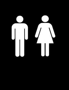 Men Women Restroom Bathroom Vinyl Decal 9x9 White