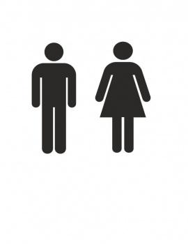 Men Women Restroom Bathroom Vinyl Decal 9x9 Black