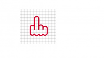 Middle Finger Red Vinyl Decal 8x8