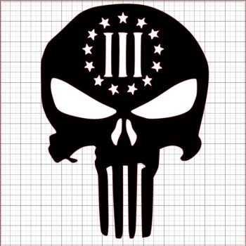Punisher Three Percenter Black Vinyl Decal 4x4