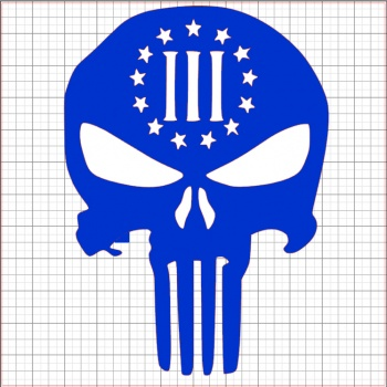 Punisher Three Percenter Blue Vinyl Decal 6x6