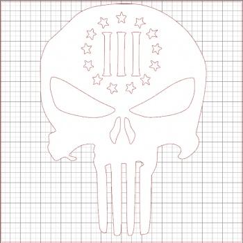 Punisher Three Percenter White Vinyl Decal 10x10