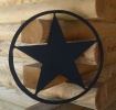 Texas Star Wooden Wall Plaque Pediment - 22 Inch - Black
