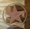 Texas Star Wooden Wall Plaque Pediment - 22 Inch - Natural Unfinished