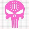 Punisher Three Percenter Pink Vinyl Decal 6x6