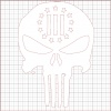 Punisher Three Percenter White Vinyl Decal 8x8