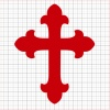 Cross Red Vinyl Decal 8x8