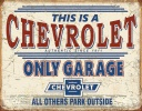 Tin Signs Chevy Only Garage - BRK-TSN2200
