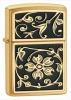 Zippo Gold Floral Flush 20903 Lighter Brushed Brass