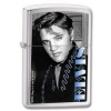 Elvis Blue Brushed Chrome Windproof Lighter 28073