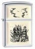 Zippo High Polish Chrome Scrimshaw Ship Lighter 359