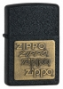 Zippo Black Crackle Brass Emblem 362 Lighter
